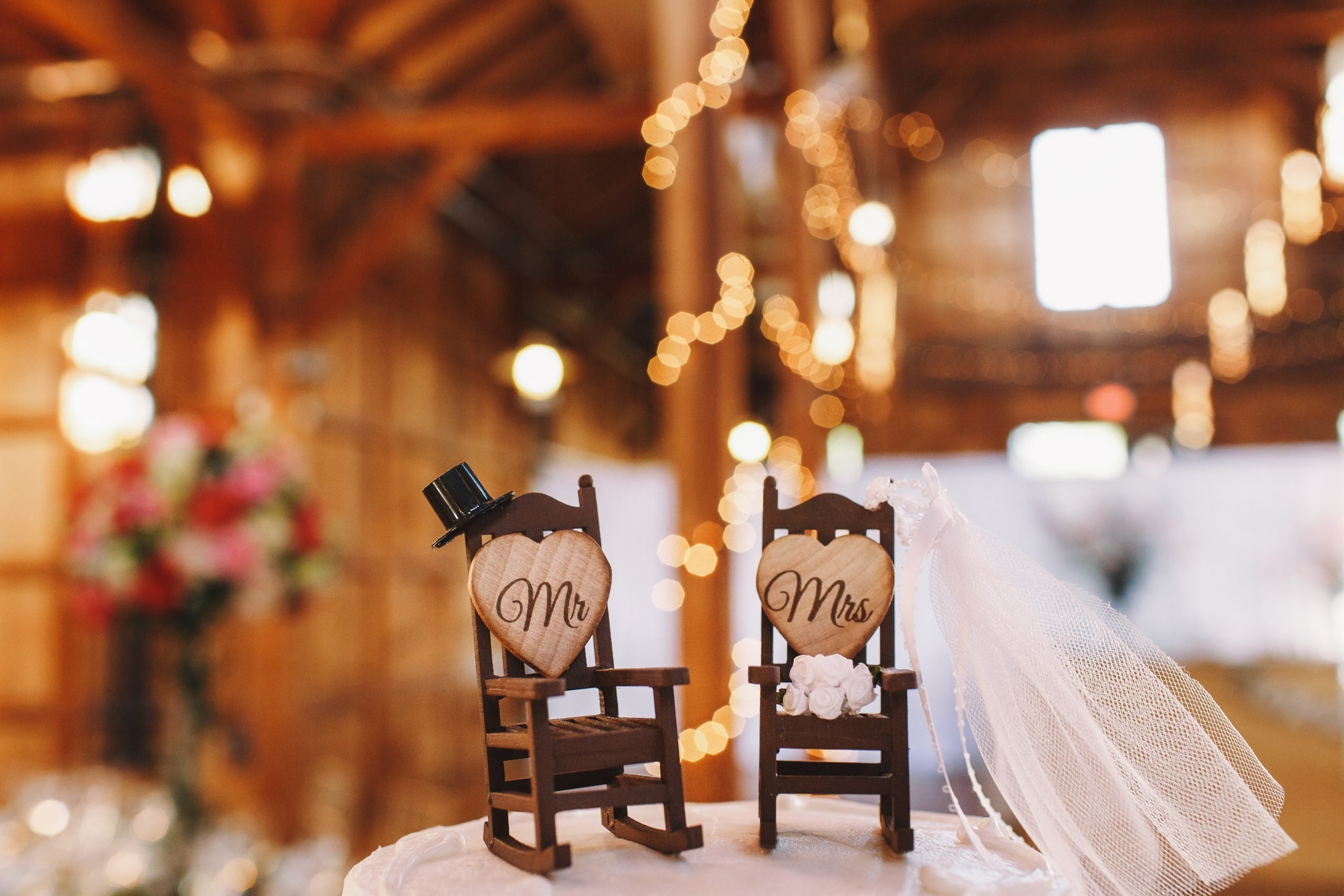 wedding cake decor made in the for of two rocking chairs scaled